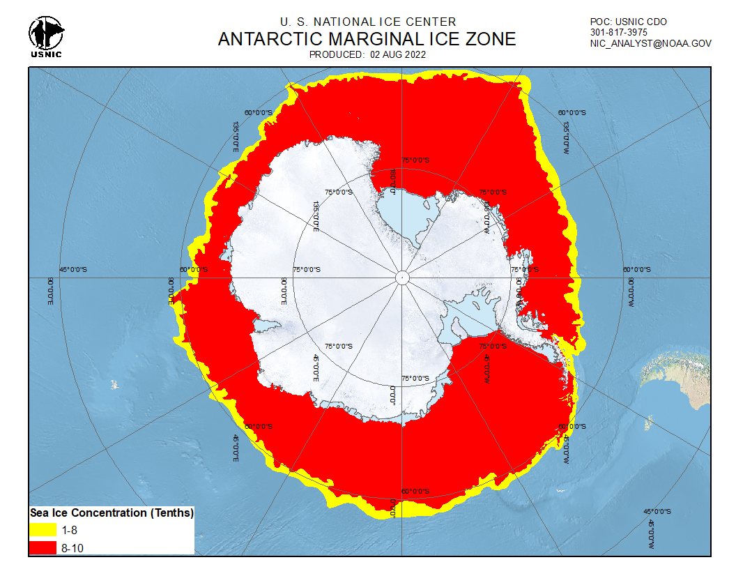 Ice cover Southern Hemisphere