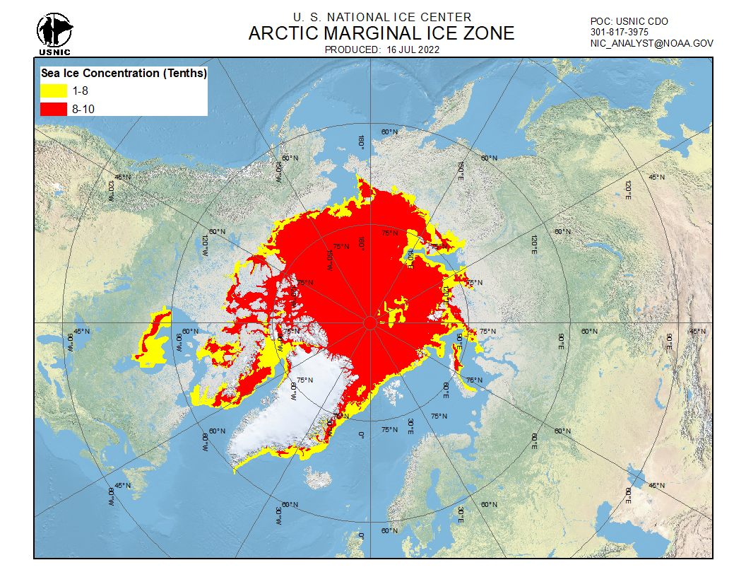 Ice cover Northern Hemisphere